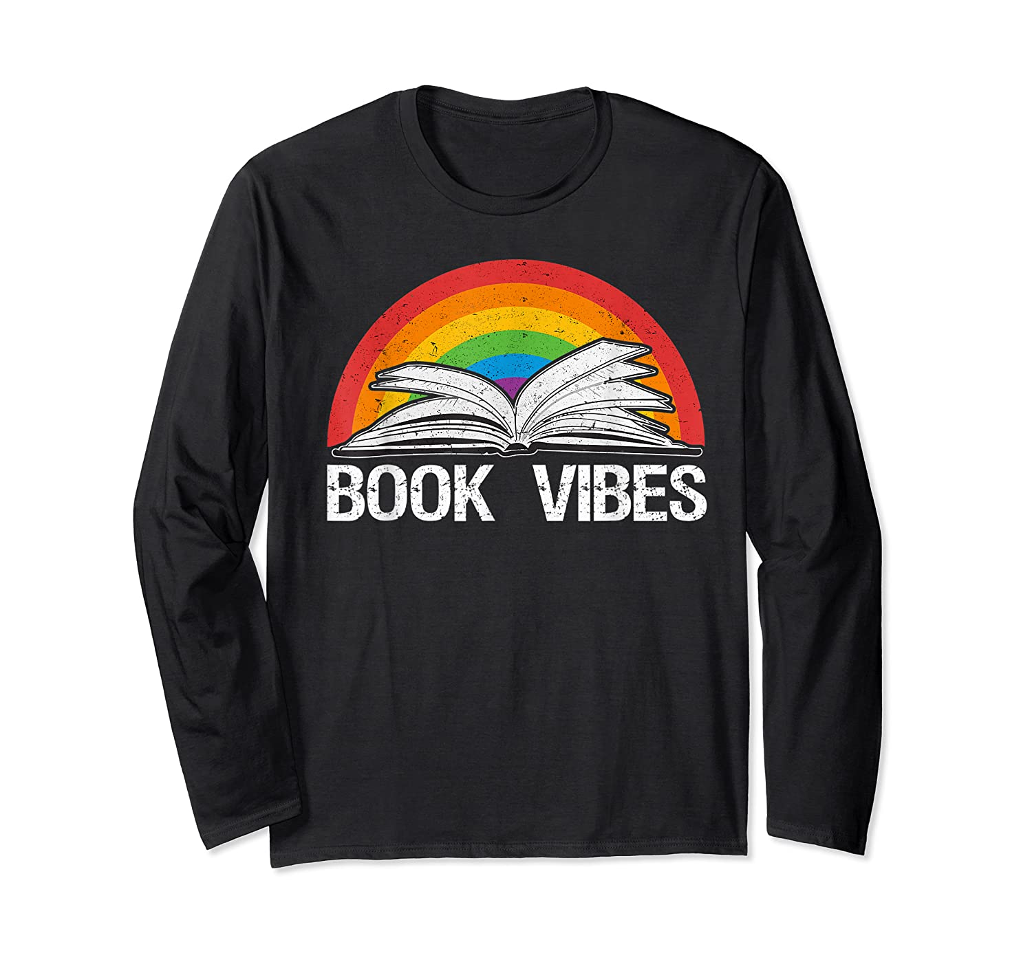 Vintage Retro Book Vibes Rainbow Gift For Reading Lovers T Shirt Long Sleeve T-shirt