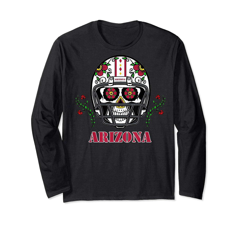 Arizona Football Helmet Sugar Skull Day Of The Dead T Shirt Long Sleeve T-shirt