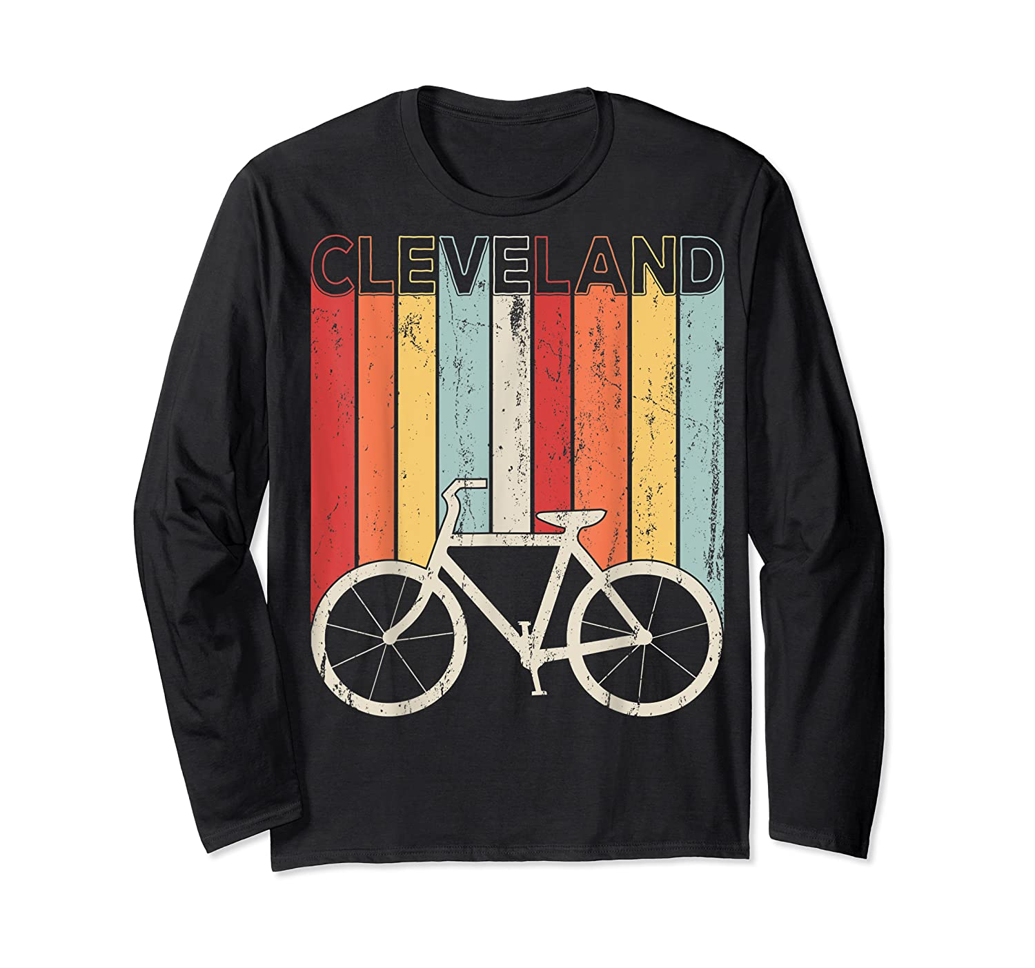 Retro Vintage Cleveland City Cycling Shirt For Cycling Lover Long Sleeve T-shirt