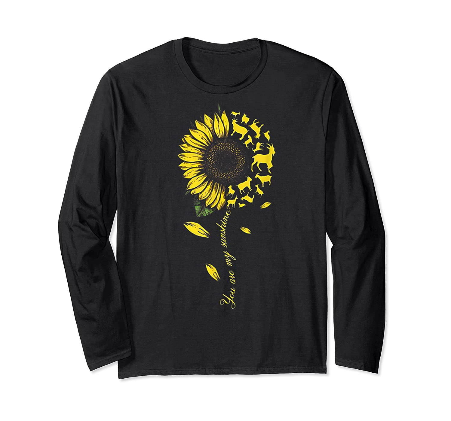 You Are My Sunshine Sunflower Goat For Woman Shirts Long Sleeve T-shirt