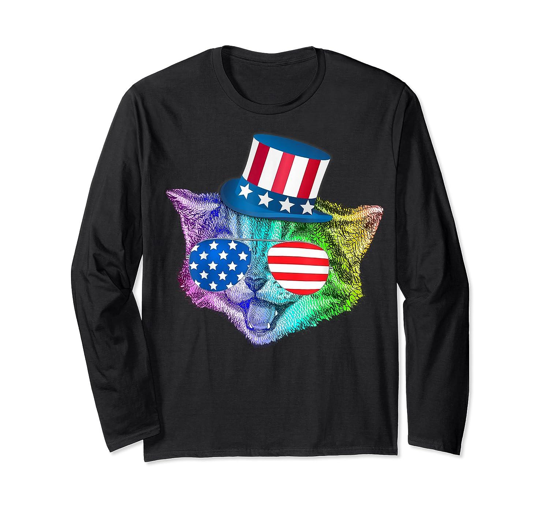 Ally Rainbow Cat Lesbian Gay Pride Gift America Flag Shirts Long Sleeve T-shirt