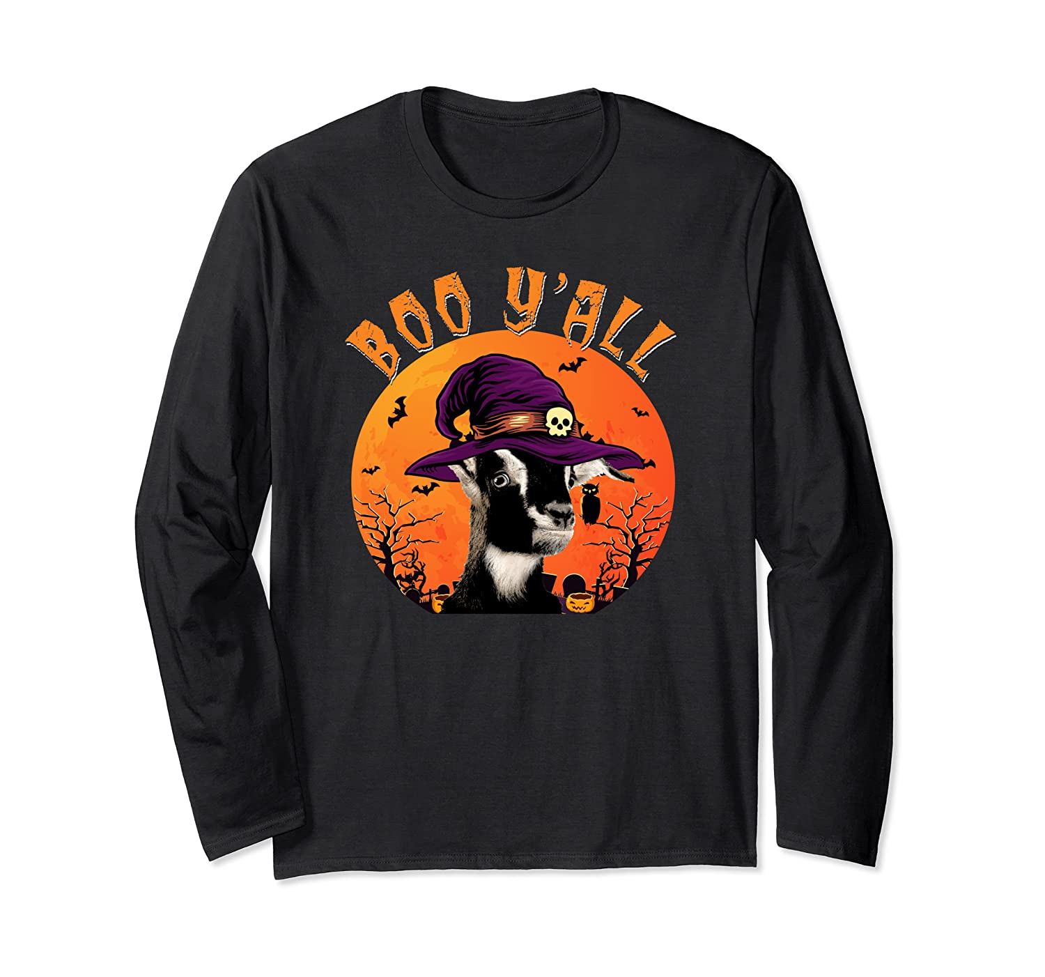 Boo Y'all Funny Southern Witch Hat Halloween Goat Long Sleeve T-Shirt