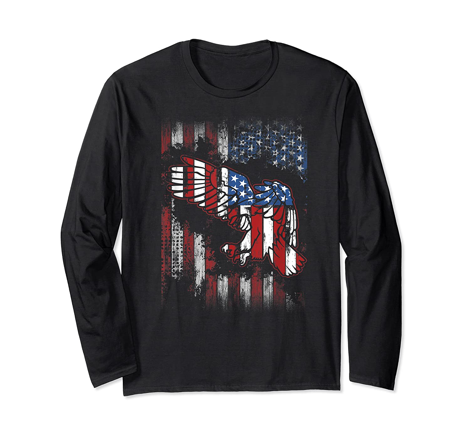 American Flag Eagle For Proud Americans On 4th July Shirts Long Sleeve T-shirt