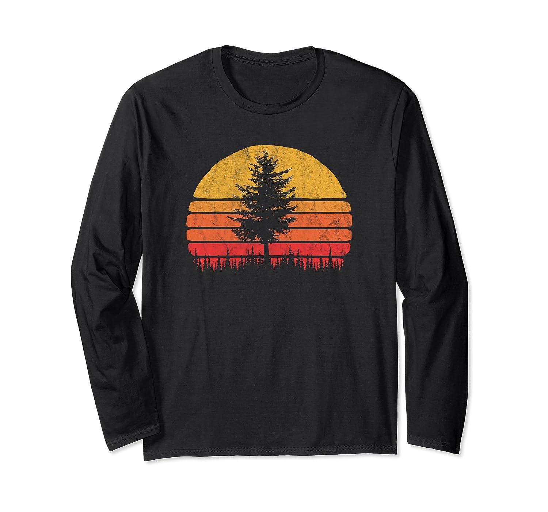 Retro Sun Minimalist Pine Tree Vintage Graphic Long Sleeve T-Shirt