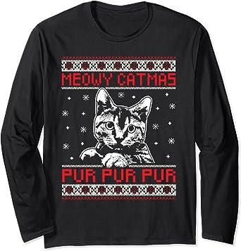 Meowy Catmas Ugly Christmas Sweater Cat Long Sleeve Shirt