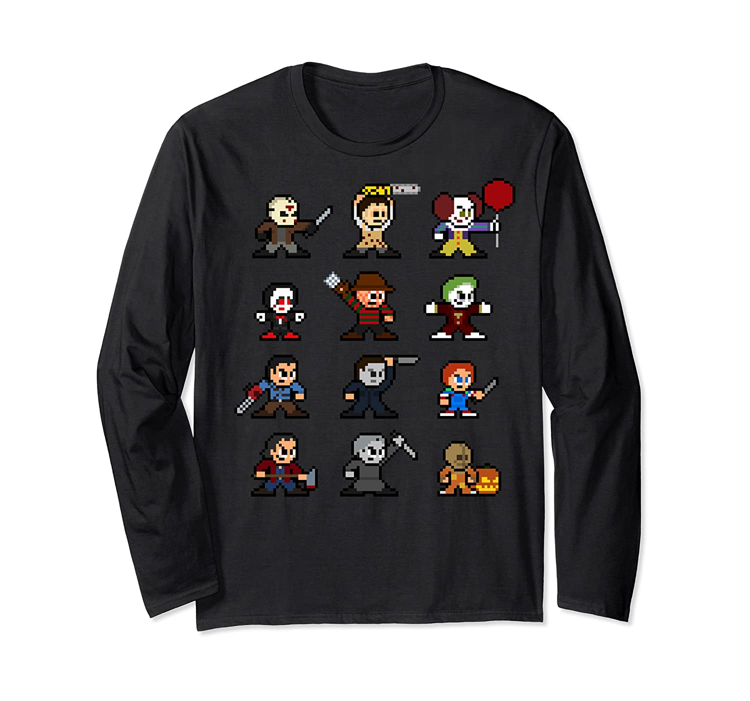 Friends Pixel Halloween Icons Scary Horror Movies Shirts Long Sleeve T-shirt