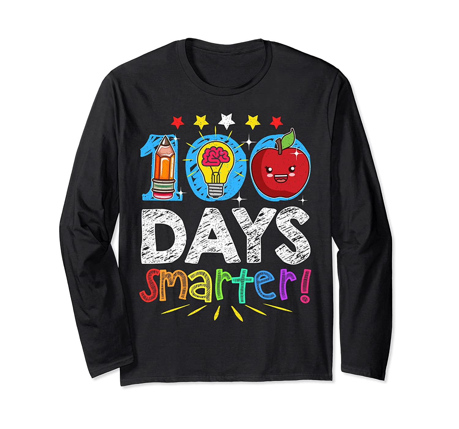 100 Days Smarter Funny Tee Happy 100th Day of School Gifts Long Sleeve T-Shirt-Awarplus