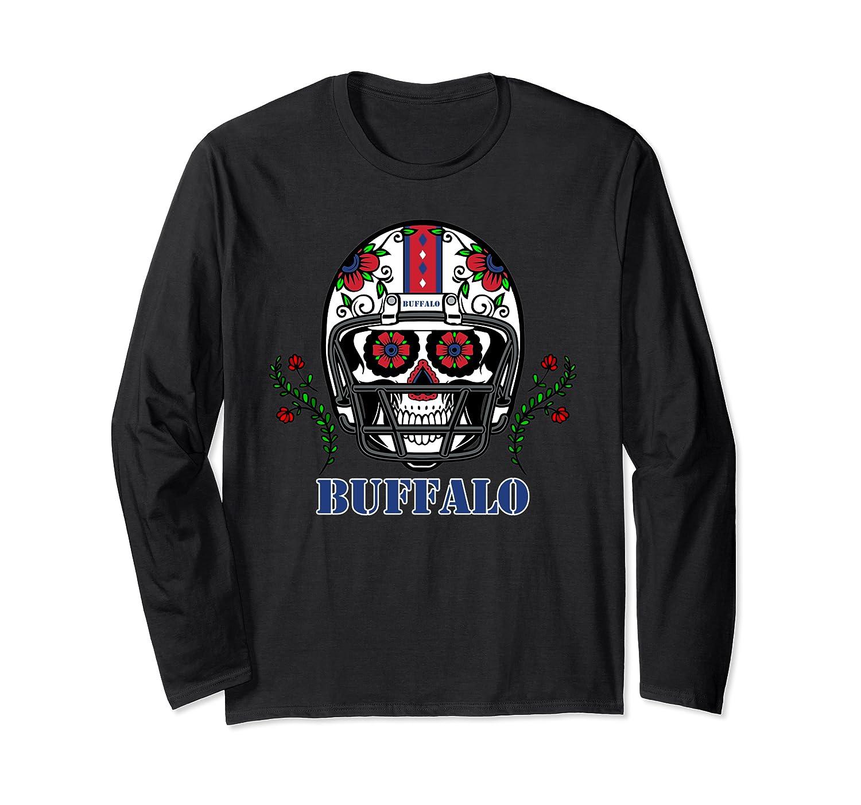 Buffalo Football Helmet Sugar Skull Day Of The Dead T Shirt