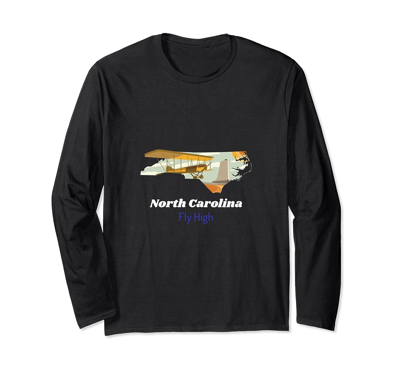North Carolina: Fly High State Plane Illustration Long Sleeve T-Shirt