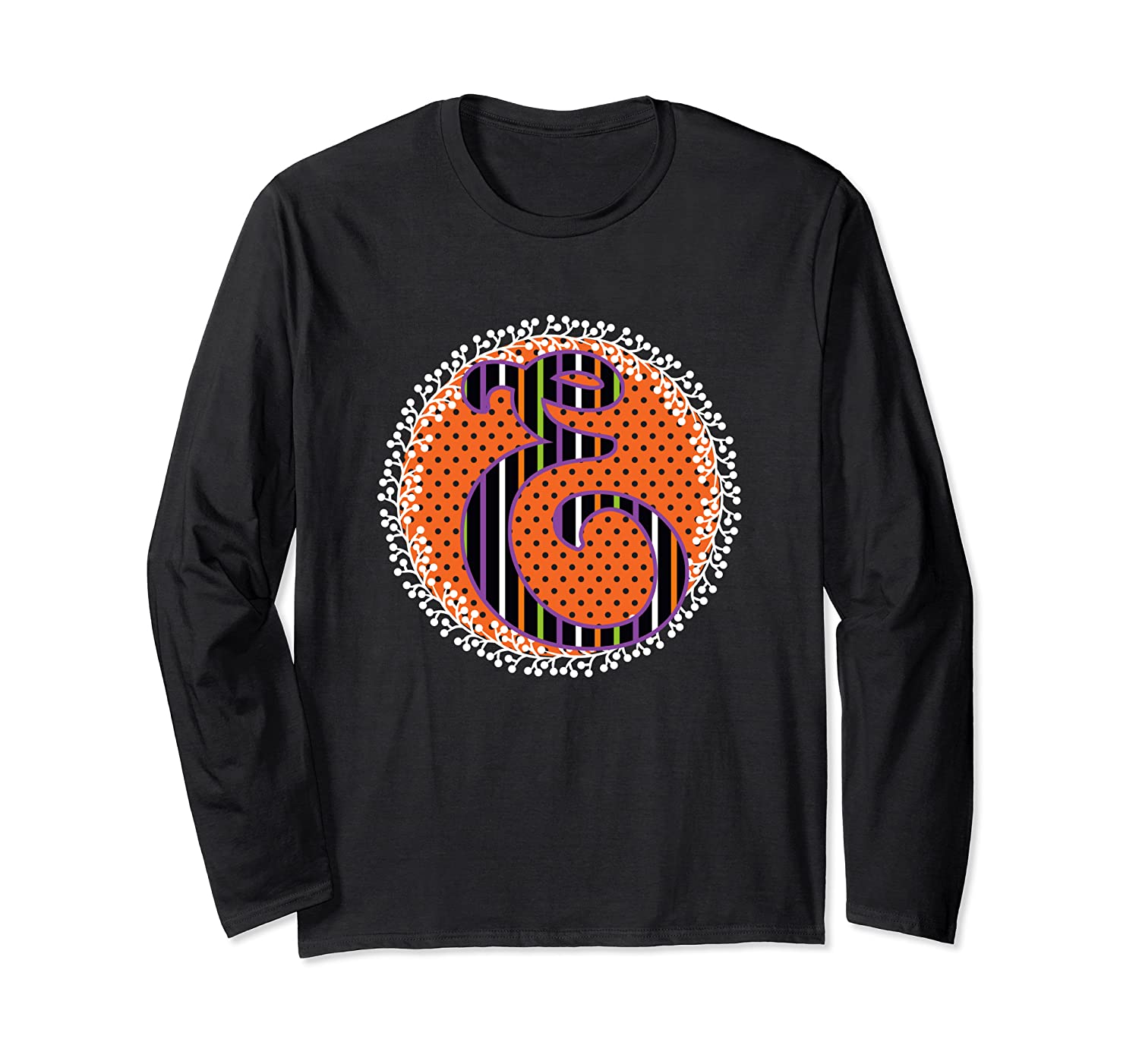 D Name Initial Halloween Monogram October Orange Black Fancy Long Sleeve T-Shirt