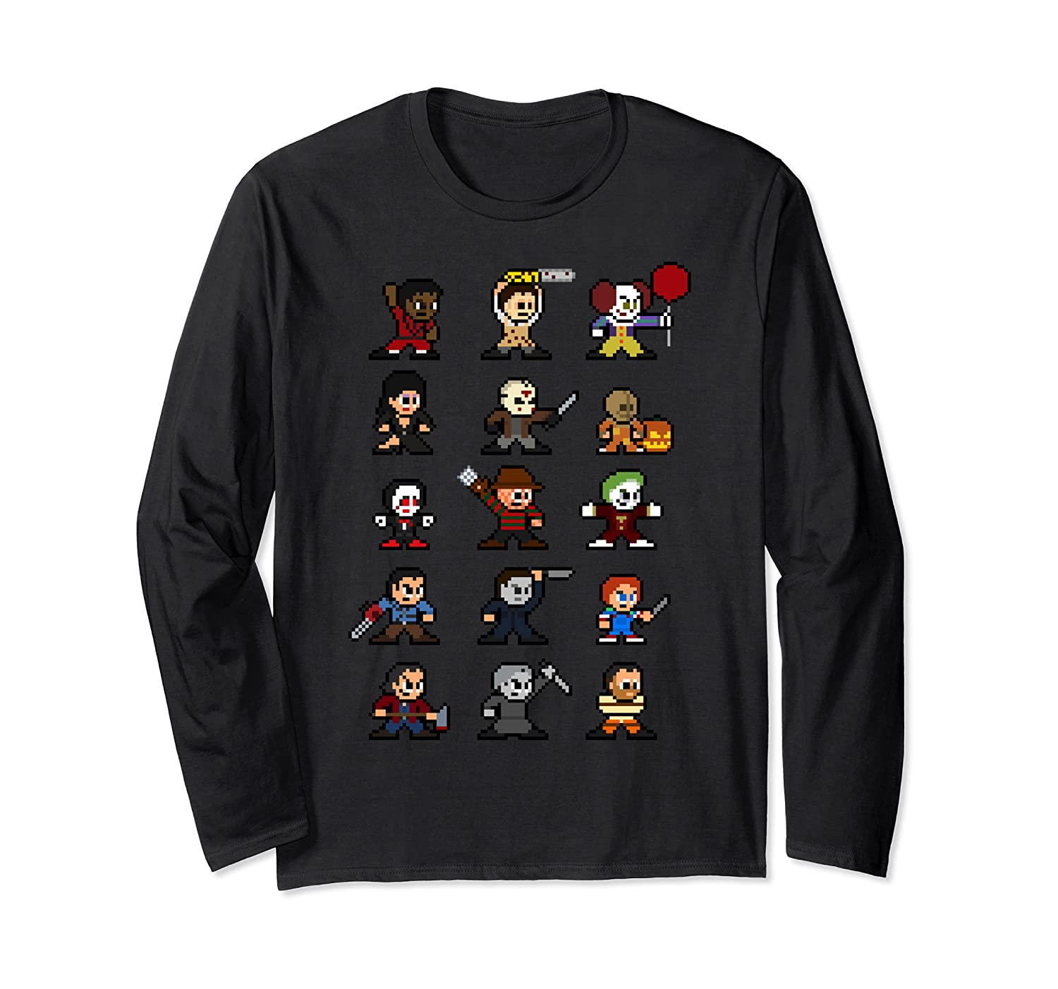 Friends Pixel Halloween Icons Scary Horror Movies T Shirt