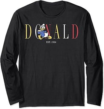 Disney Donald Duck Est. 1934 Donald Colorful Text Manche Longue