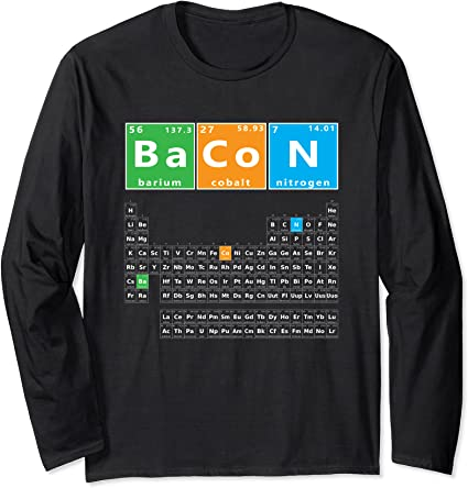 Bacon Periodic Table HOODIE Chemistry Pork Teacher Casual Butcher Birthday