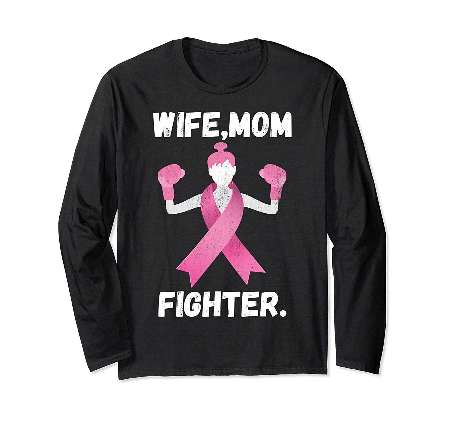 Wife Mom Fighter Breast Cancer Awareness Month Pink Ribbon T Shirt