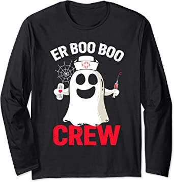 Boo Ghost Womens Crew Neck Long Sleeve Tshirts Tops