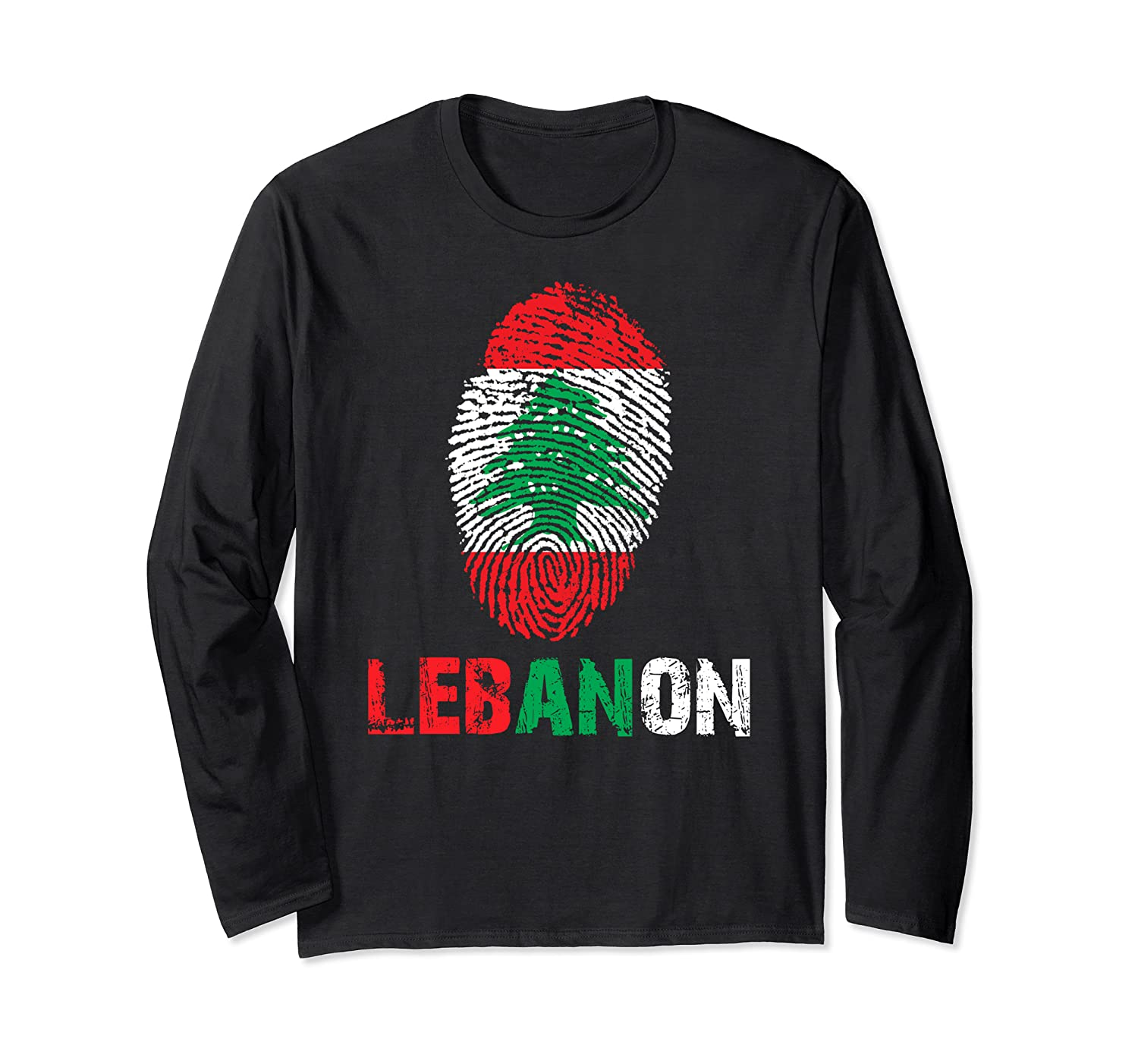 LEBANON Finger Print Flag Tshirt I Love LEBANON Travel Tee  Long Sleeve T-Shirt