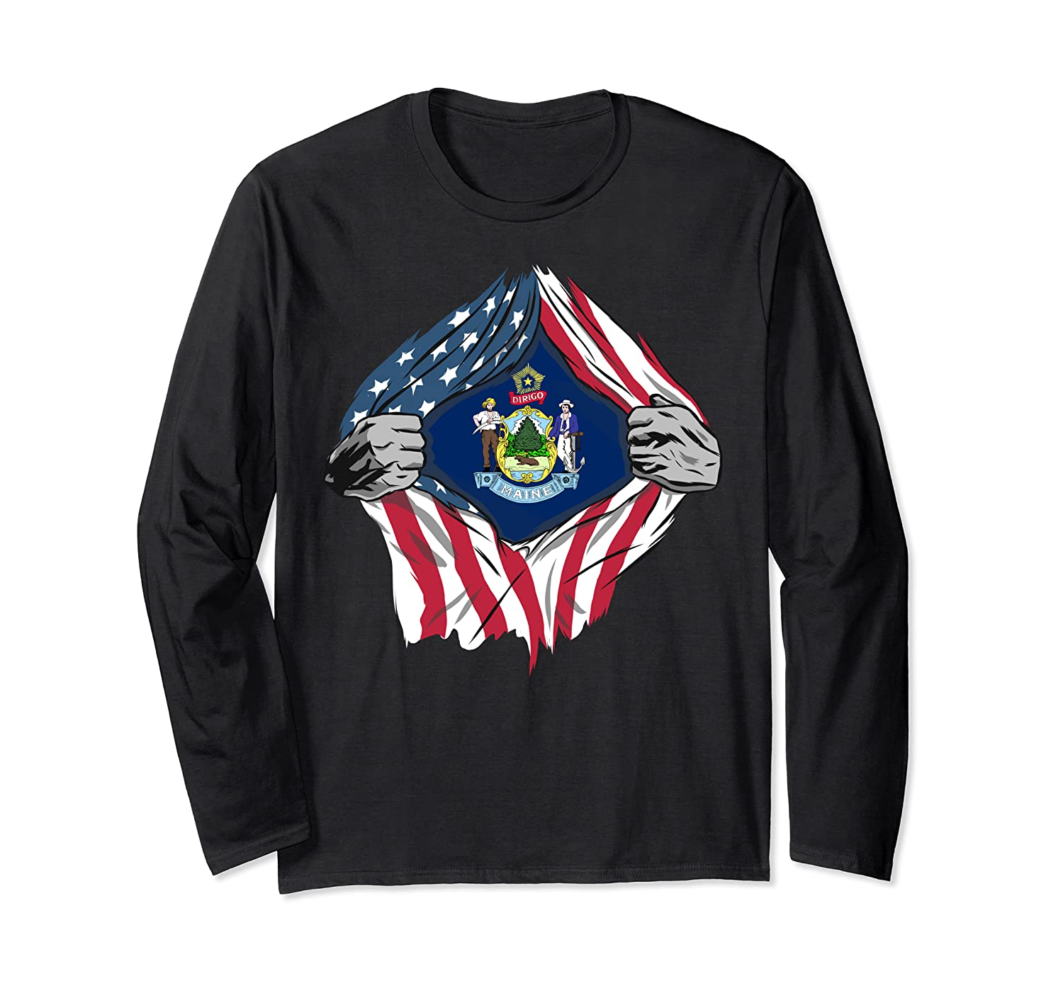 Maine State Flag – American Blood Inside Me Long Sleeve T-Shirt