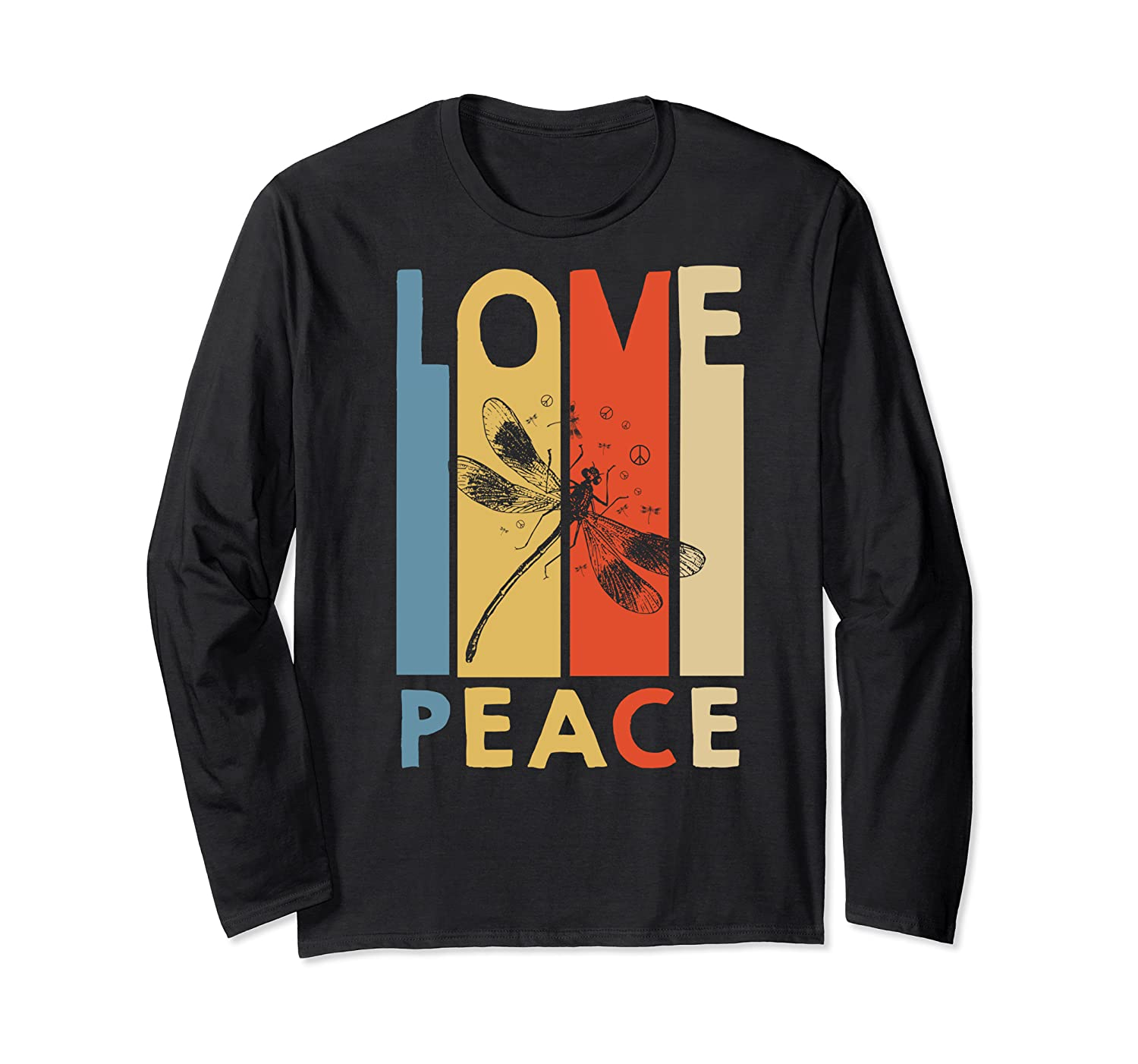 Love Peace Dragonfly Hippie Funny Shirts Long Sleeve T-shirt