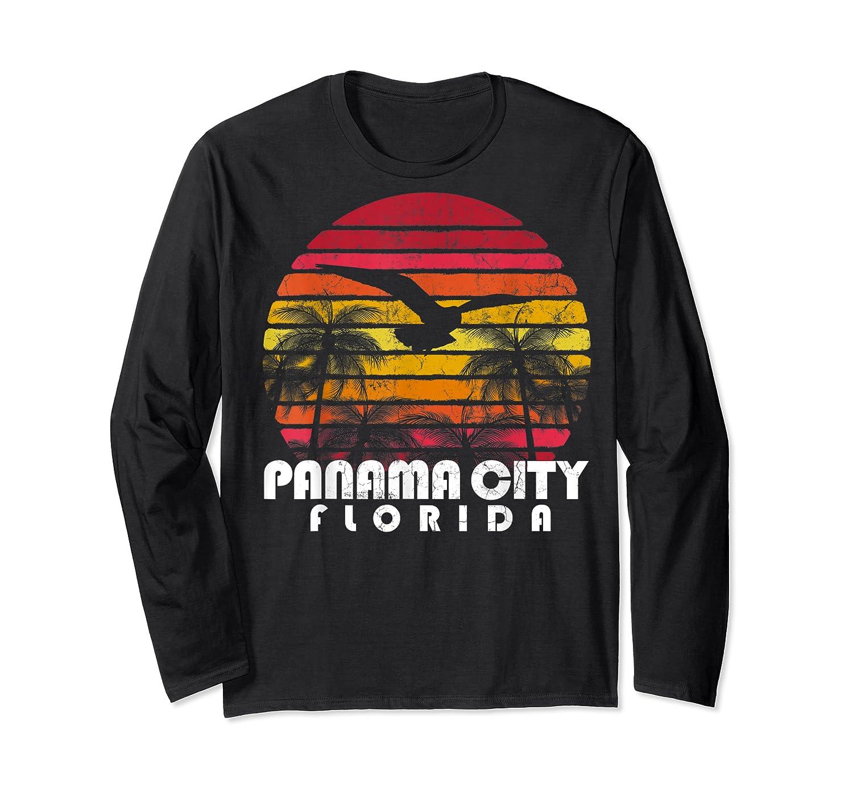 Vintage Retro Pa City Fl Florida Sunset Distressed Style T Shirt Long Sleeve T-shirt