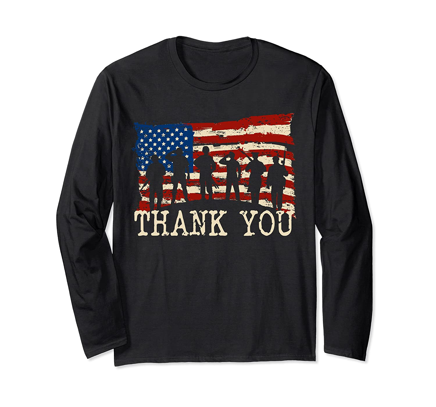 American Flag Long Sleeve Shirts Thank you Veterans Long Sleeve T-Shirt-TH