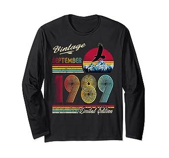 Amazon.com: Vintage septiembre 1989 camiseta 30 cumpleaños ...