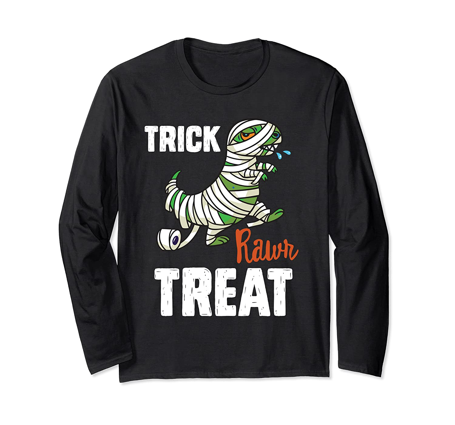 Halloween T Rex Mummy Dinosaur Funny Trick RAWR Treat Gift Long Sleeve T-Shirt