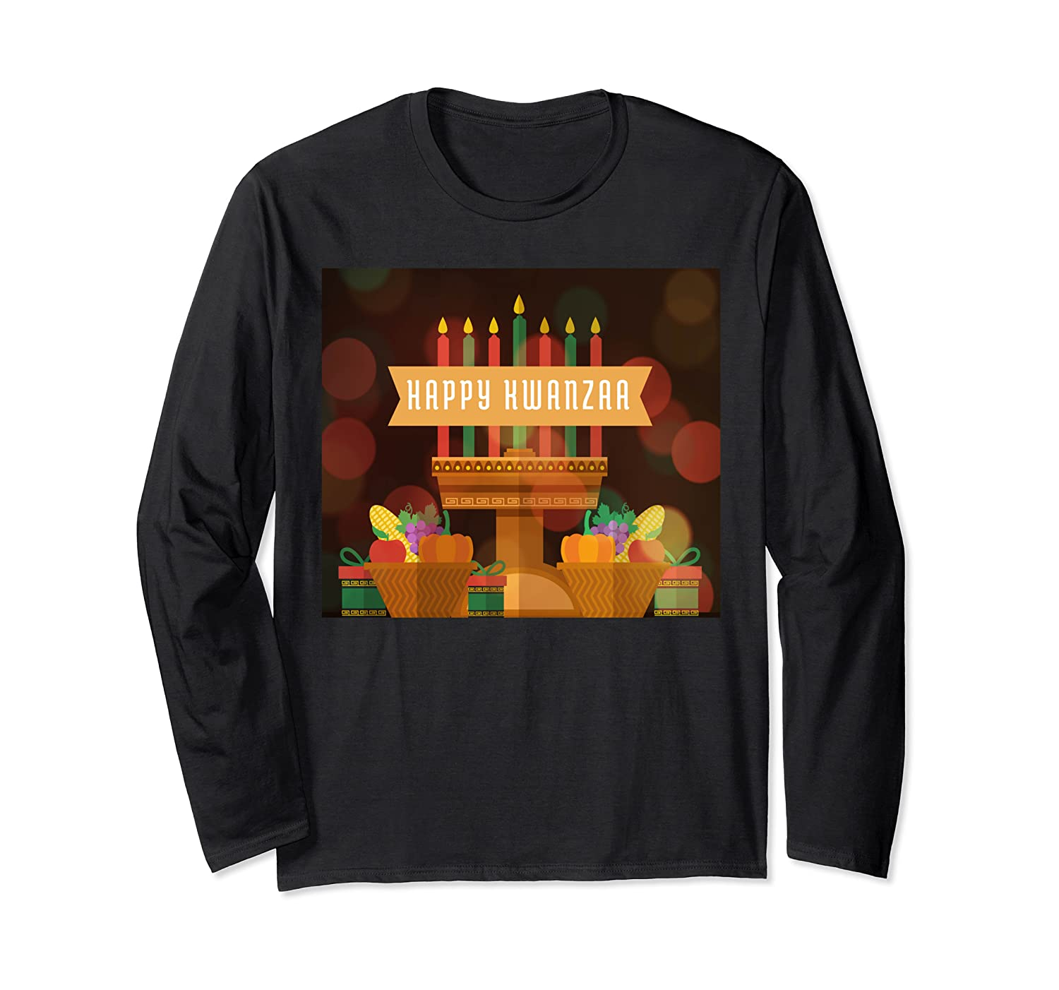 Happy Kwanzaa Holiday Candle Africa Map Unique Gift Ideas Long Sleeve T-Shirt