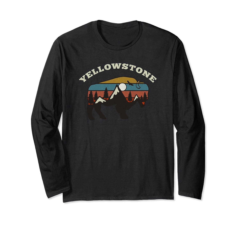 Vintage retro sunset camping Yellowstone souvenir Long Sleeve T-Shirt