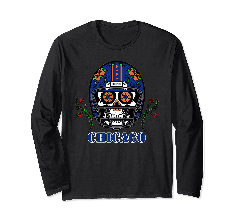 Chicago Football Helmet Sugar Skull Day Of The Dead T Shirt