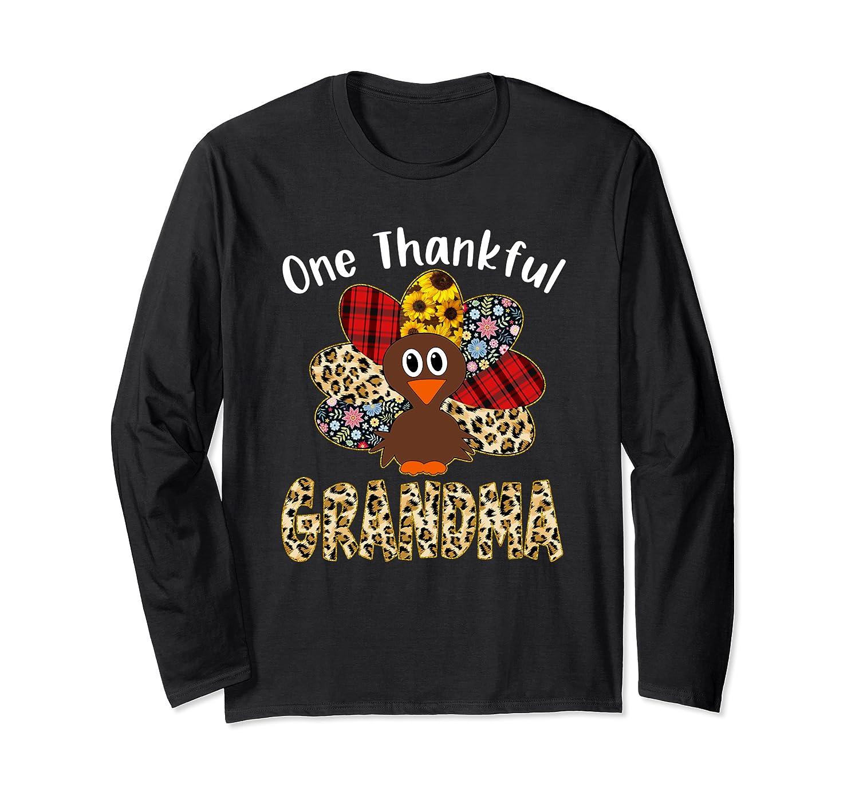 One Thankful Grandma Leopard Turkey Thanksgiving Long Sleeve T-Shirt