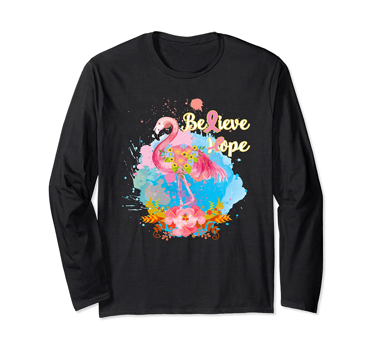 Pink Flamingo Believe Hope Breast Cancer Awareness Month T Shirt