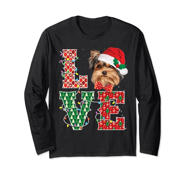 Yorkie Love Christmas Yorkie Tee Xmas Dogs Cute Gifts Long Sleeve T-Shirt-Awarplus