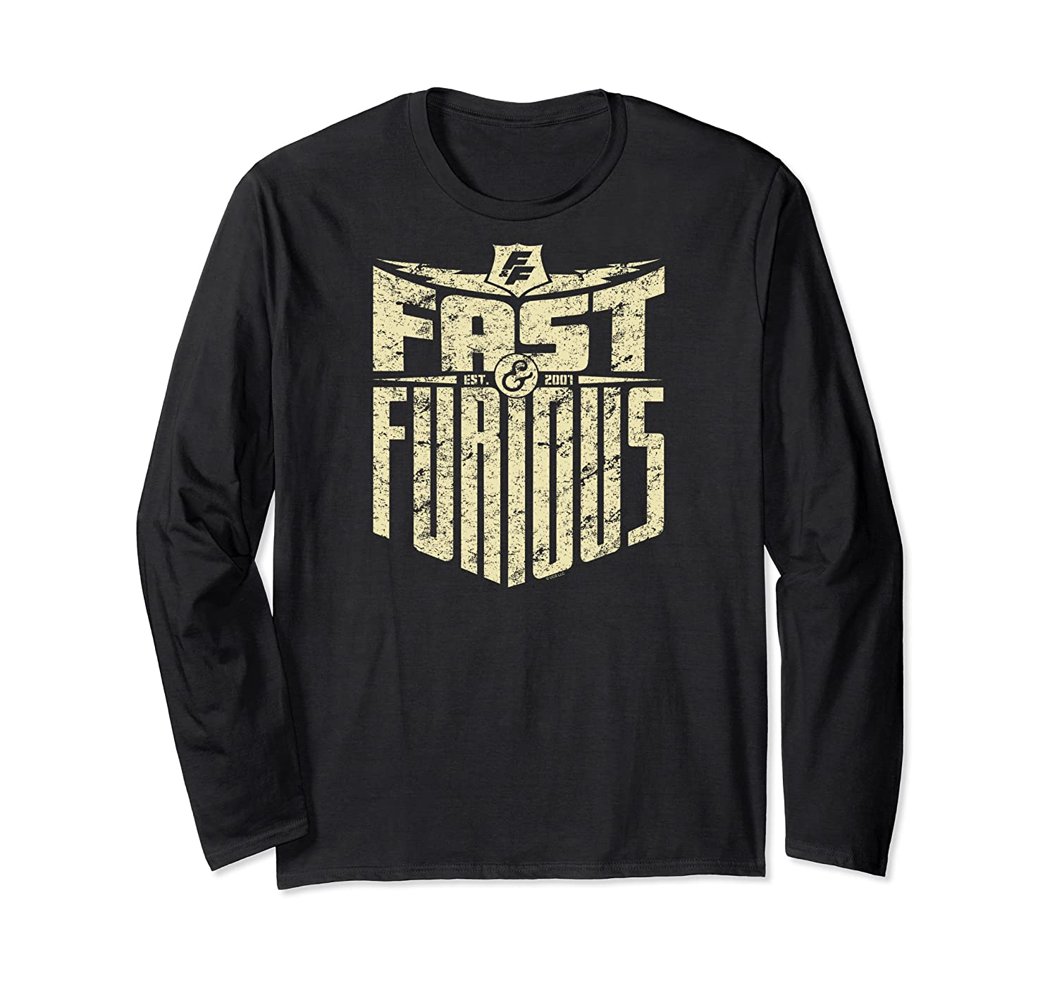 Fast Furious Distressed Lightning Bolt Word Stack Pullover Shirts Long Sleeve T-shirt