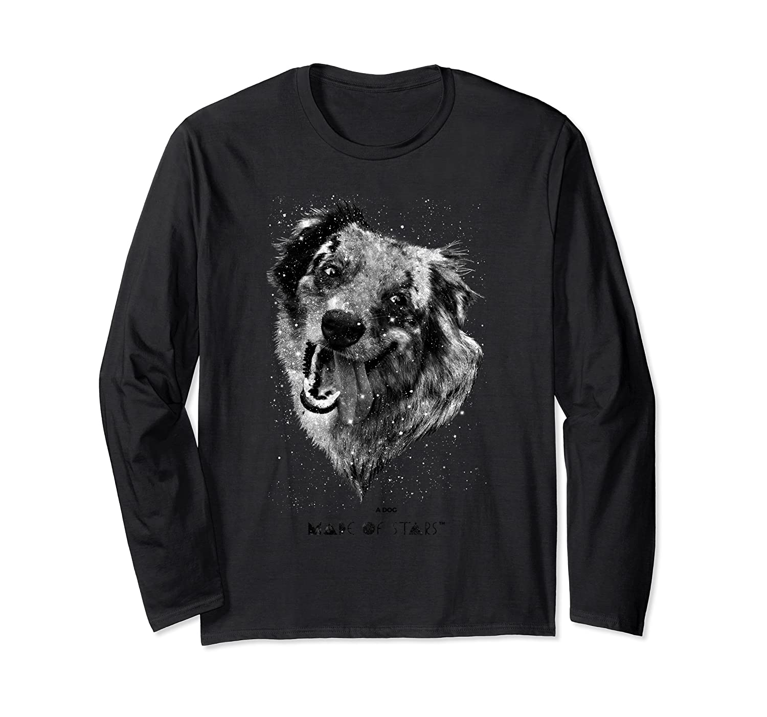 Cosmic Dog Astrology Stars Puppy Paw Galaxy Long Sleeve T-Shirt