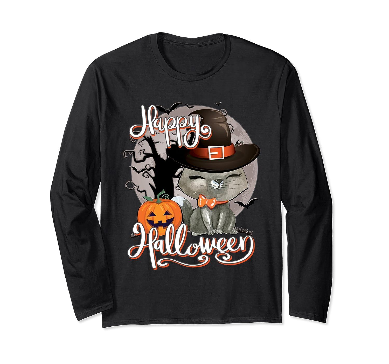 Happy Halloween Cute Cat In Witch Hat Pumpkin Spooky Novelty T Shirt