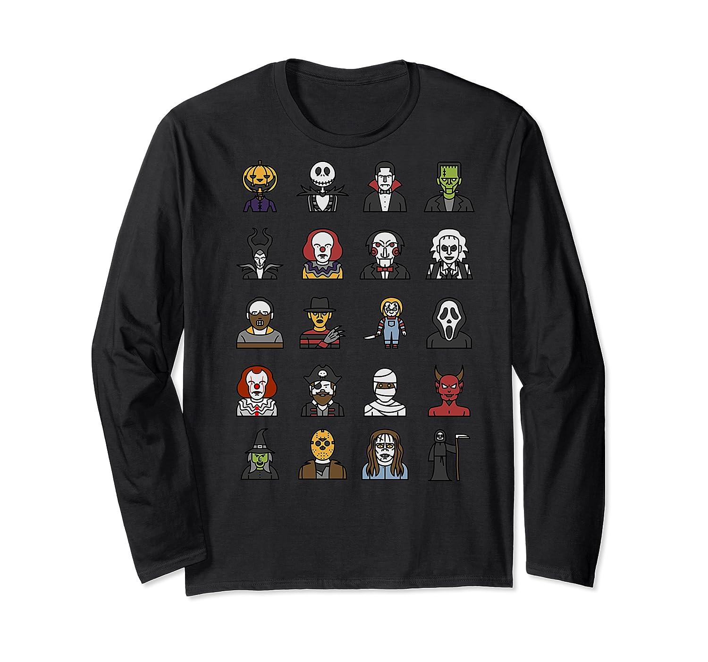 Friends Cartoon Halloween Character Scary Horror Movies Shirts Long Sleeve T-shirt