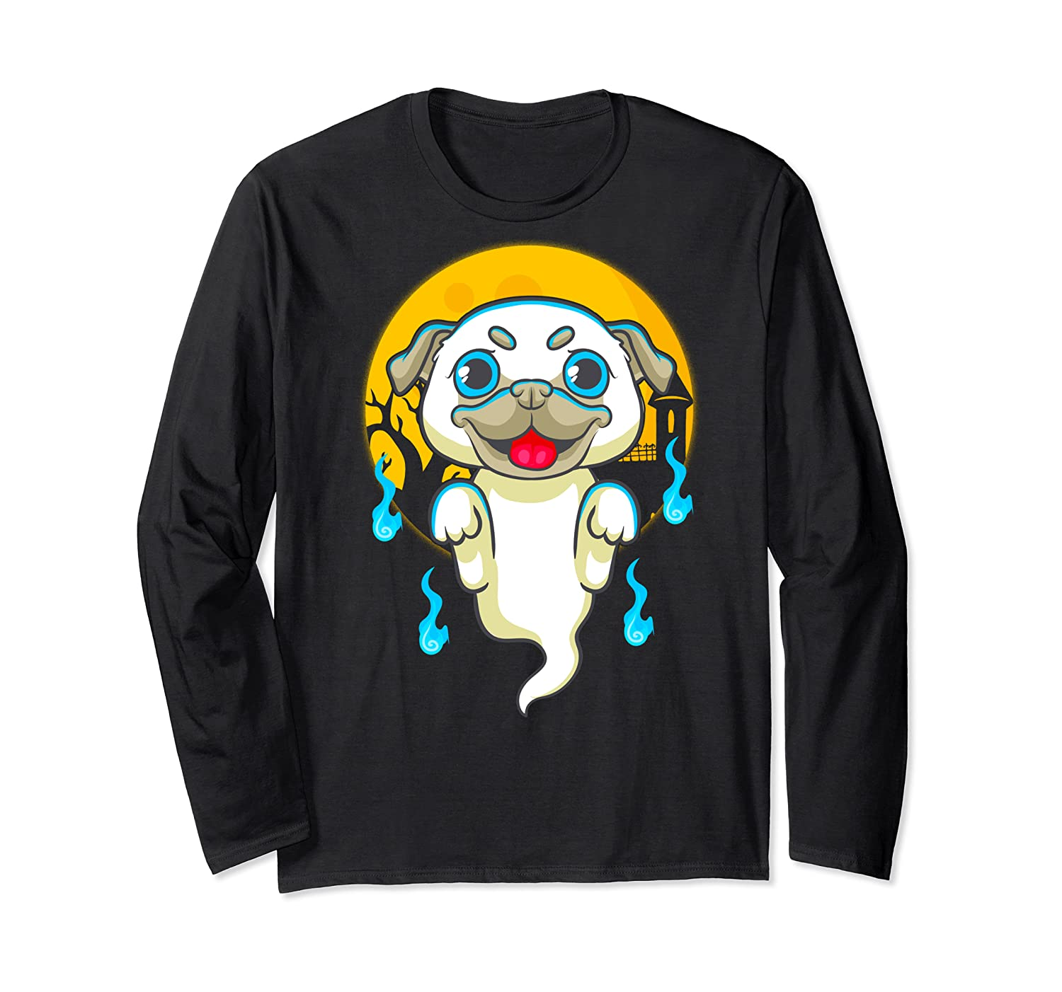 Cute Pug Dog Lover Ghost Funny Halloween Costume Gifts Shirts Long Sleeve T-shirt