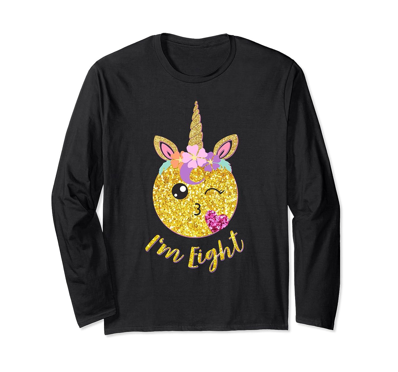 8th Birthday Emoticon Shirt Unicorn 8 Year Girl Sweet Face T-shirt