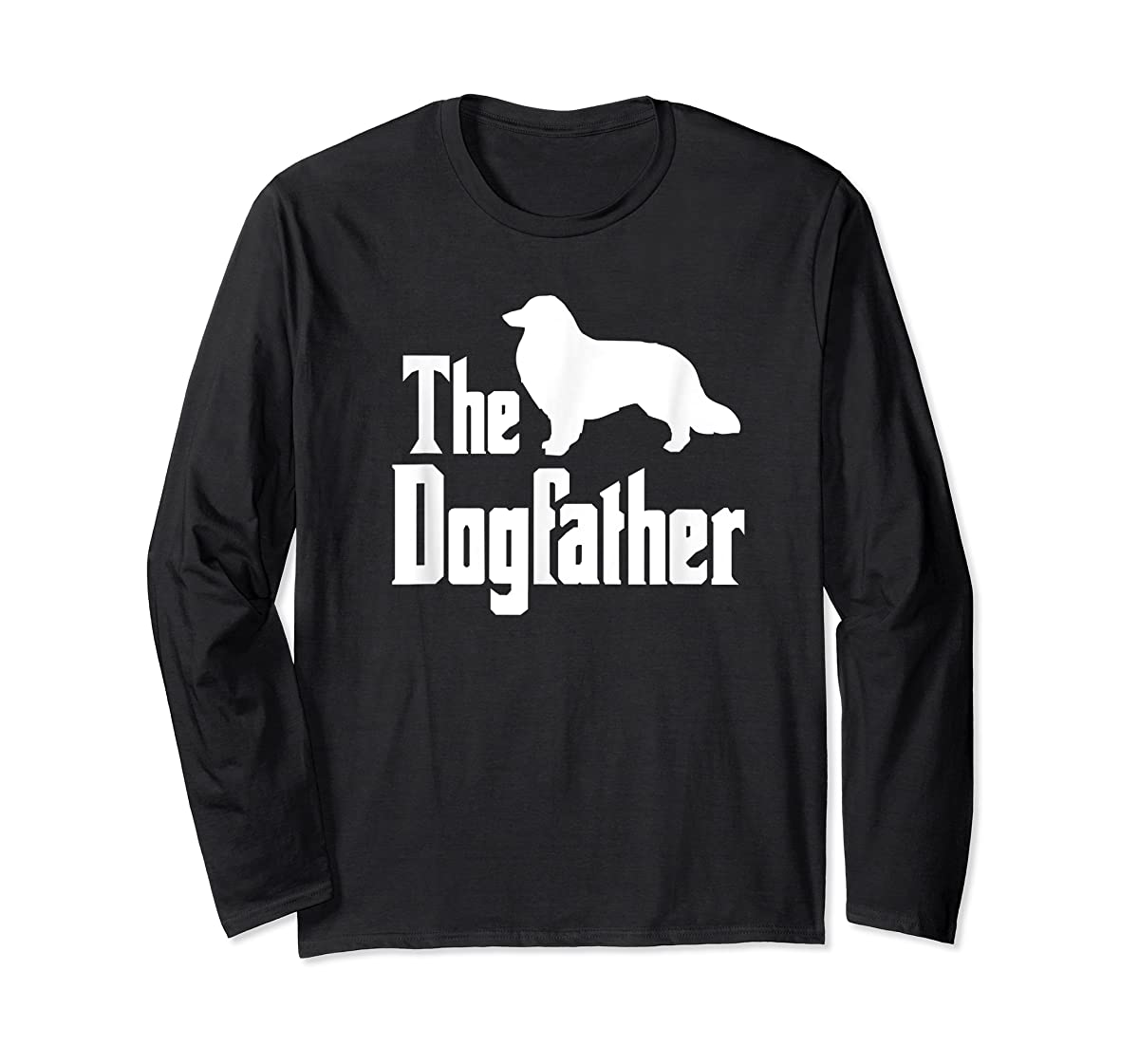 The Dogfather - funny Rough Collie T-Shirt, funny dog gift-Long Sleeve-Black