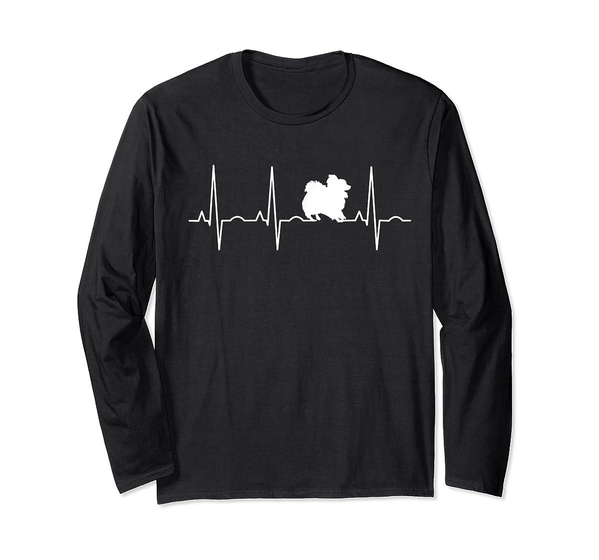 Pomeranian Heartbeat T-Shirt Pom Shirt Gifts Dog Lover-Long Sleeve-Black