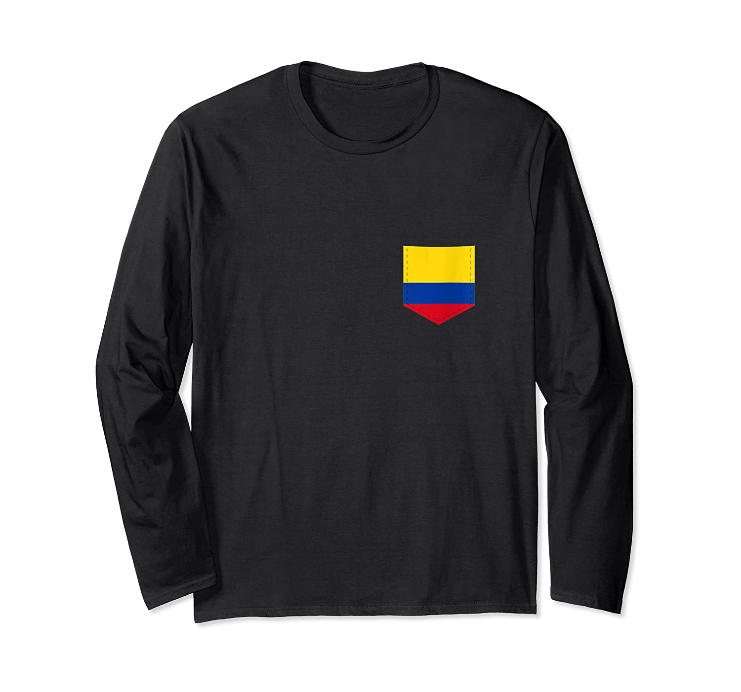 Colombia Flag Design With Printed Colombian Flag Pocket Tank Top Shirts Long Sleeve T-shirt