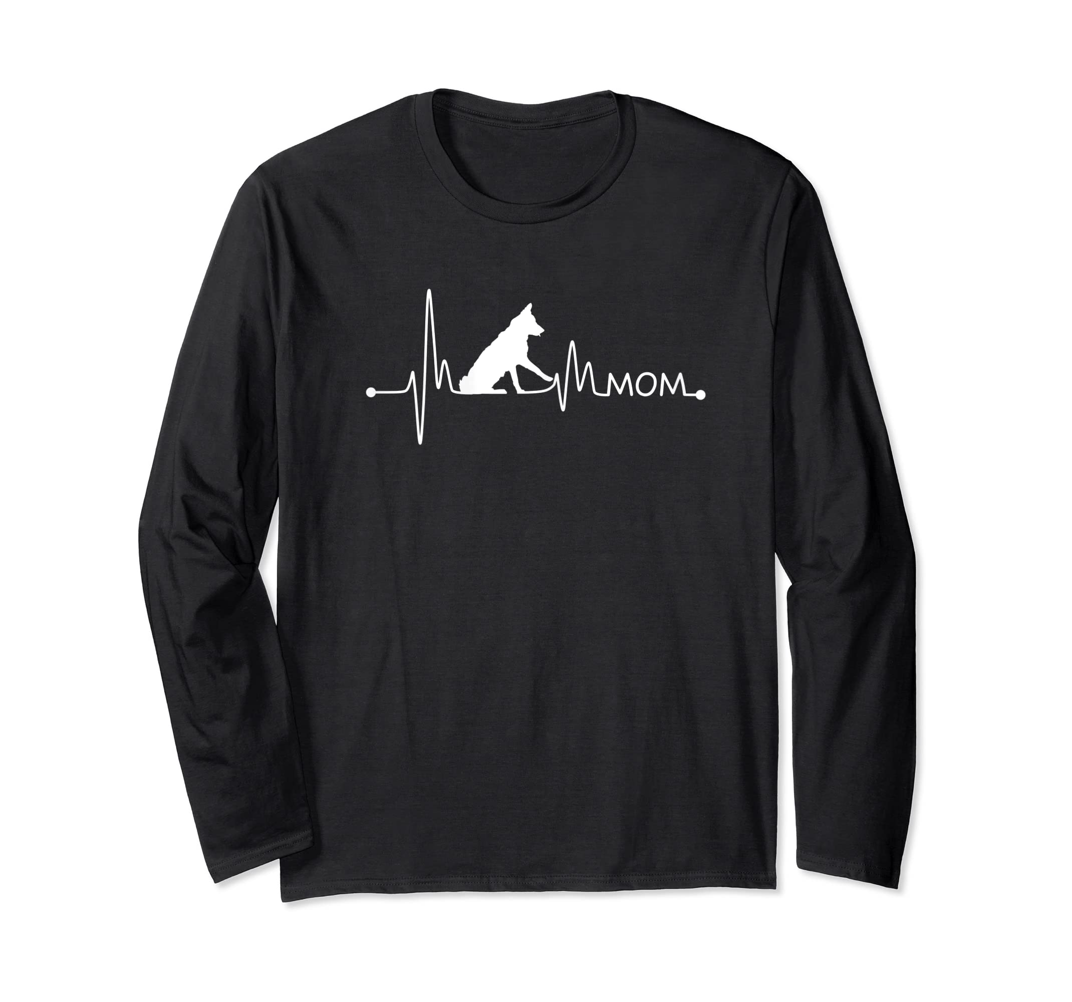 Womens Border Collie Heartbeat Mom Shirt Ekg Pulse Collie Lover Tee-Long Sleeve-Black