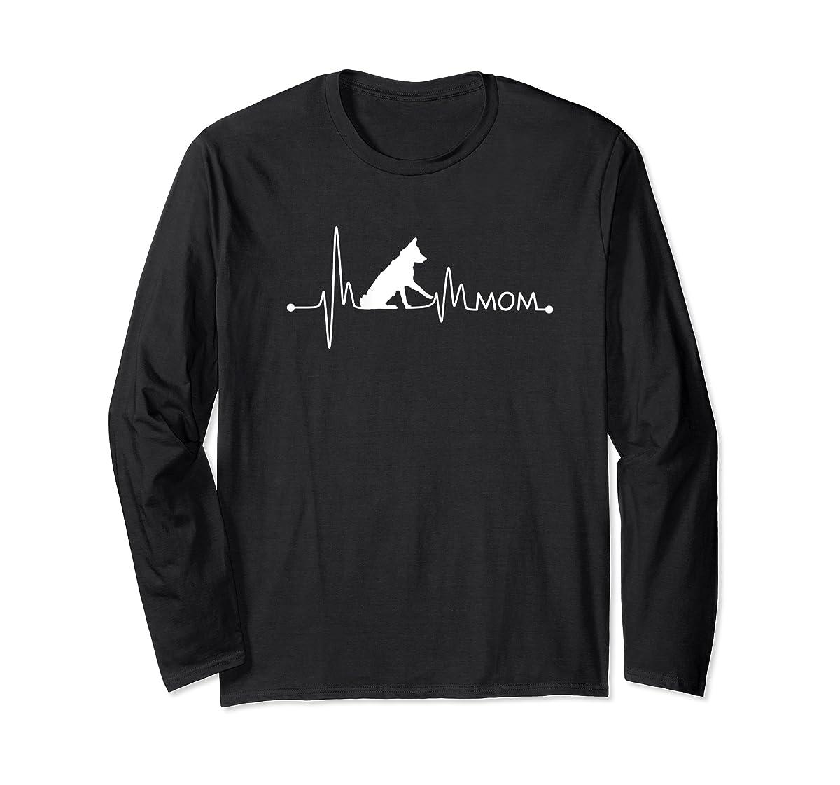 Womens Border Collie Heartbeat Mom Shirt Ekg Pulse Collie Lover Tee-Long Sleeve-Black