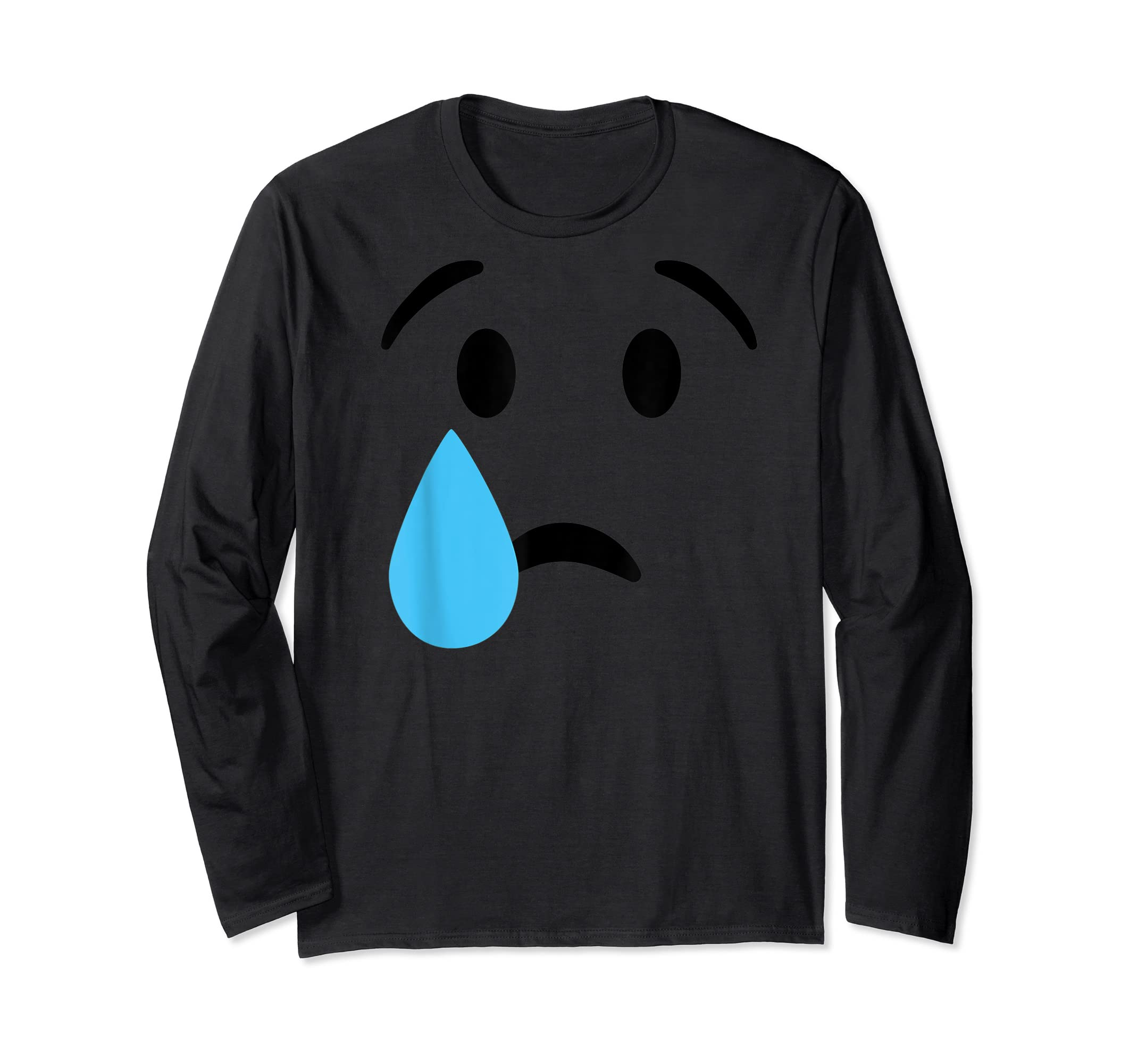 Sad Crying Tear Eyes Face Emojis Emoticon Halloween Costume T-Shirt-Long Sleeve-Black
