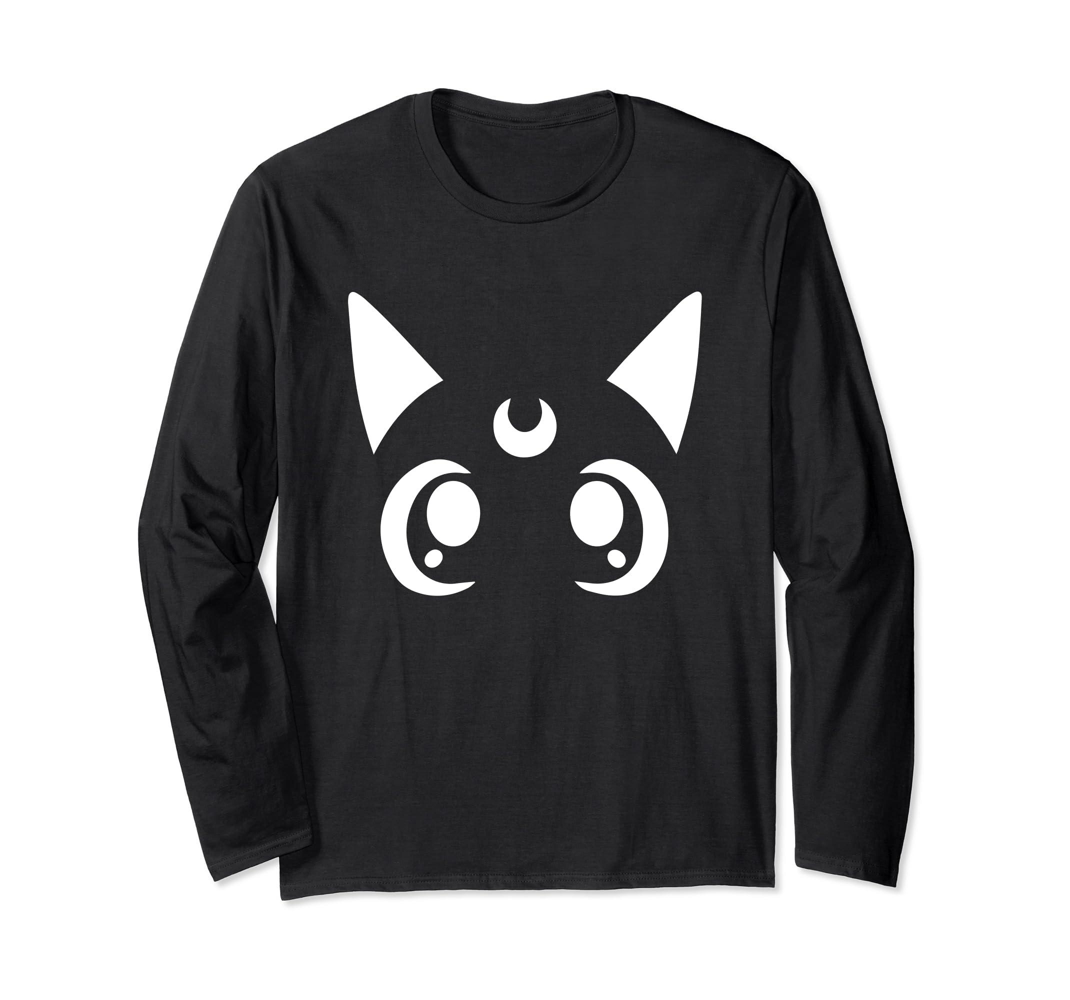 Magical Sailor Cat Face Crescent Moon Anime Nerdy Shirt-ln