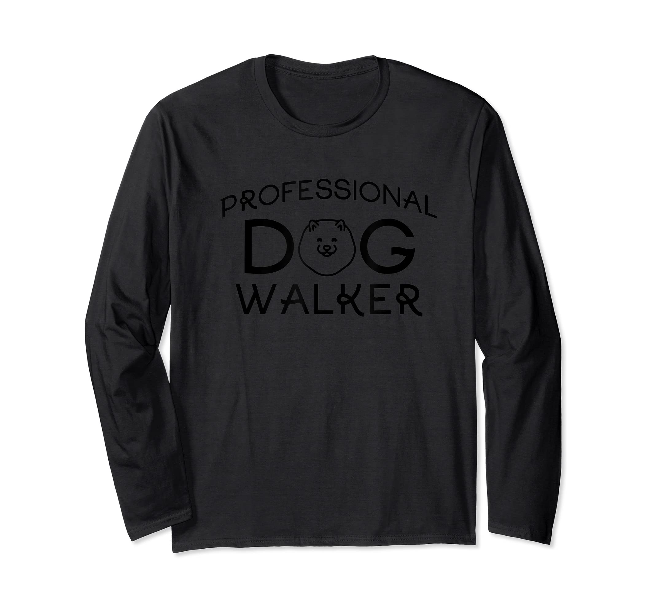 Professional Dog Walker Cute Puppy Tshirt Pet Lover T-Shirt-Long Sleeve-Black