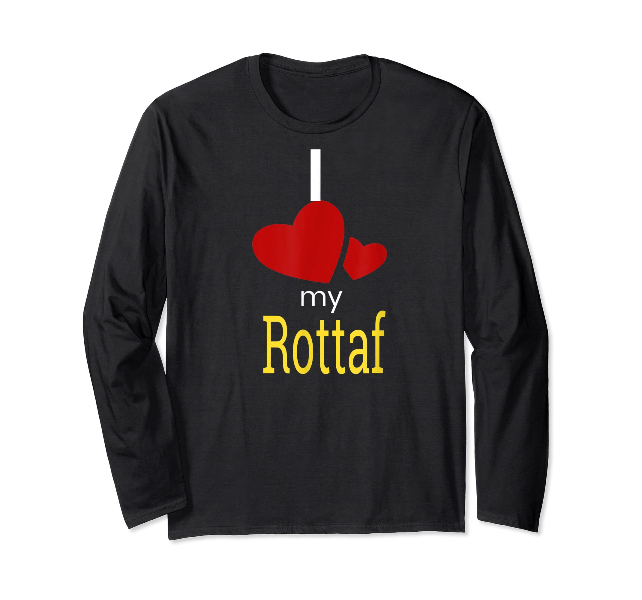 Rottaf Dog Shirt Love Rottweiler + Afghan Hound =  T-Shirt-Long Sleeve-Black