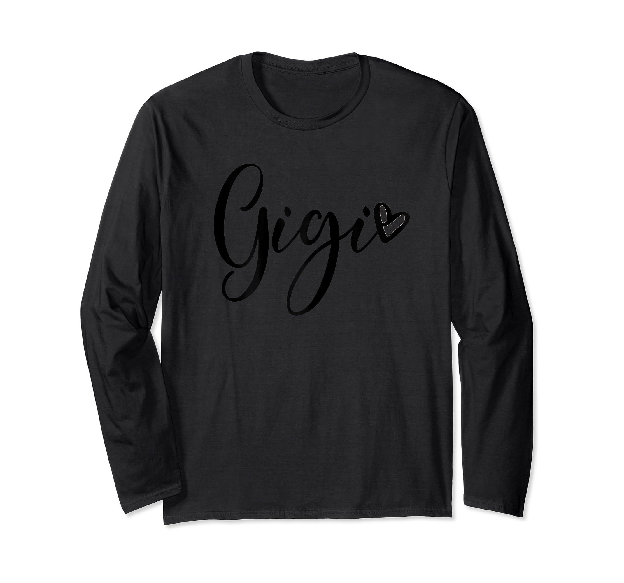 Womens Gigi Grandma T Shirt Pregnancy Announcement Mother's Day-Long Sleeve-Black