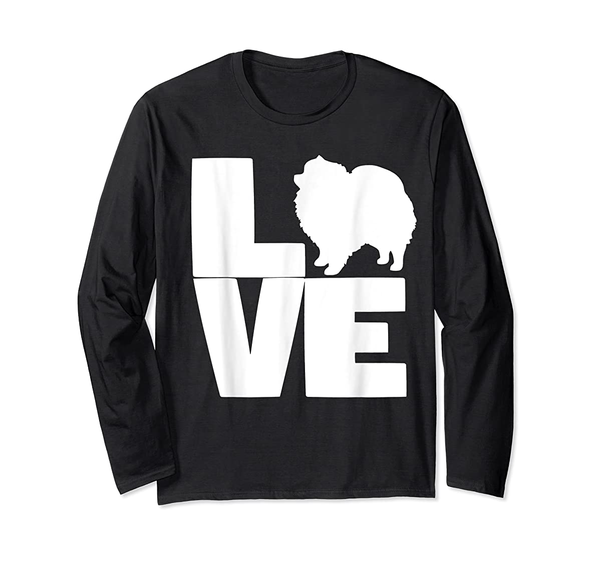 I Love Pomeranians Pom Mom or Dad Pet Lover T Shirt-Long Sleeve-Black