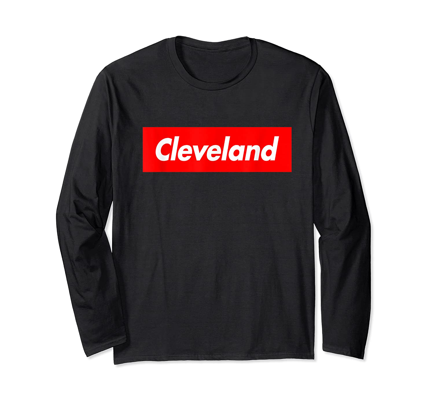 Cleveland Funny Red Box Logo Family First Last Name T-shirt Long Sleeve T-shirt
